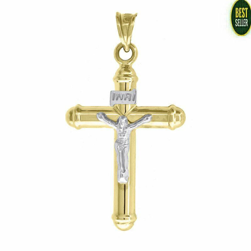 10K Yellow//White Gold Cross Crucifix Charm Pendant