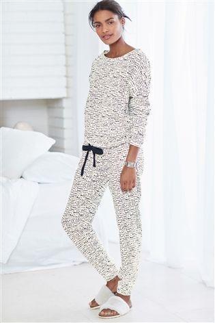12061e89a7 Buy Monochrome Love Print Jersey Pyjamas from the Next UK online shop