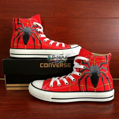 2fea669cd8c90 Personalized Shoes Converse Spider Hand Painted Red Canvas Sneaker ...