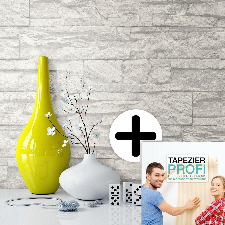 Steintapete Vliestapete Weiß , Schöne Edle Tapete Im Steinmauer Design ,  Moderne 3D Optik Für Wohnzimmer