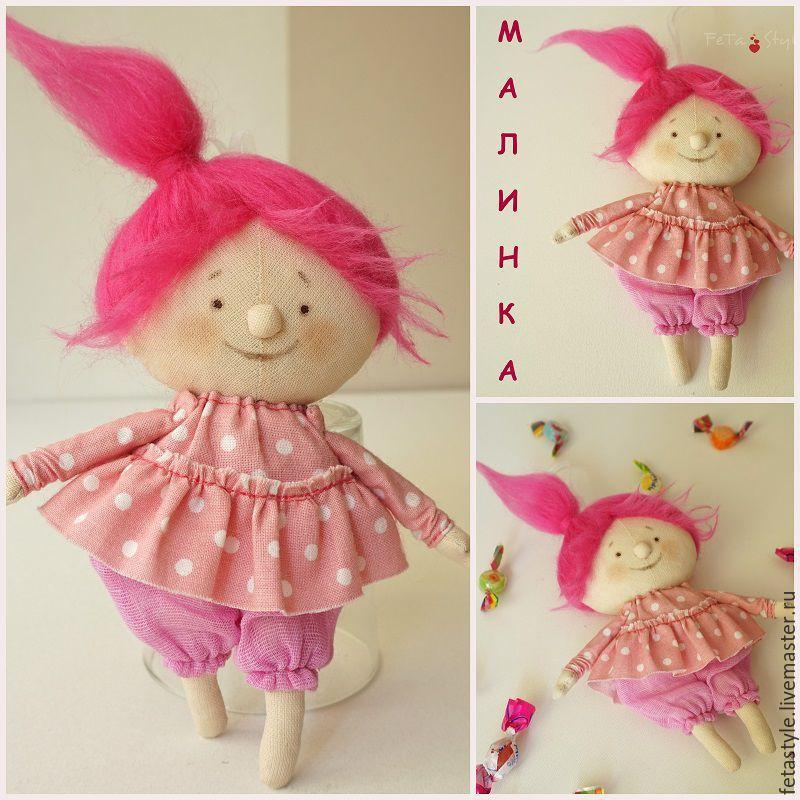 Купить Карамелька Кукла-подвеска текстильная - кукла малышка, маленькая кукла, Маленькая куколка
