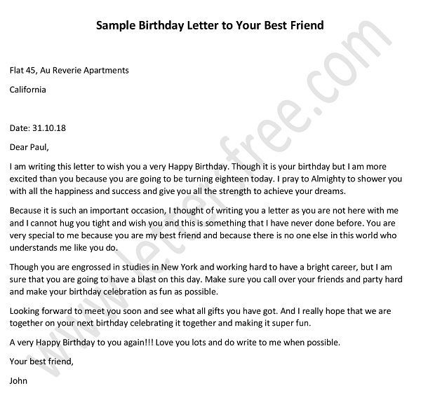A Letter to My Best Friend on Her Birthday | Letter to ...