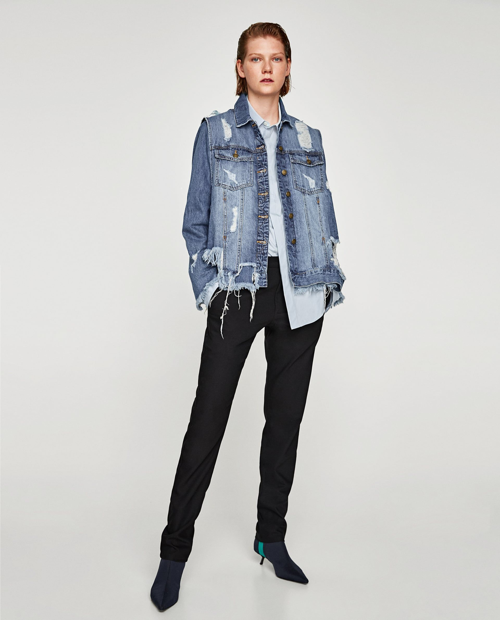 a7a6835e Image 1 of RIPPED DENIM WAISTCOAT JACKET from Zara Zara Denim Jacket, Denim  Waistcoat,