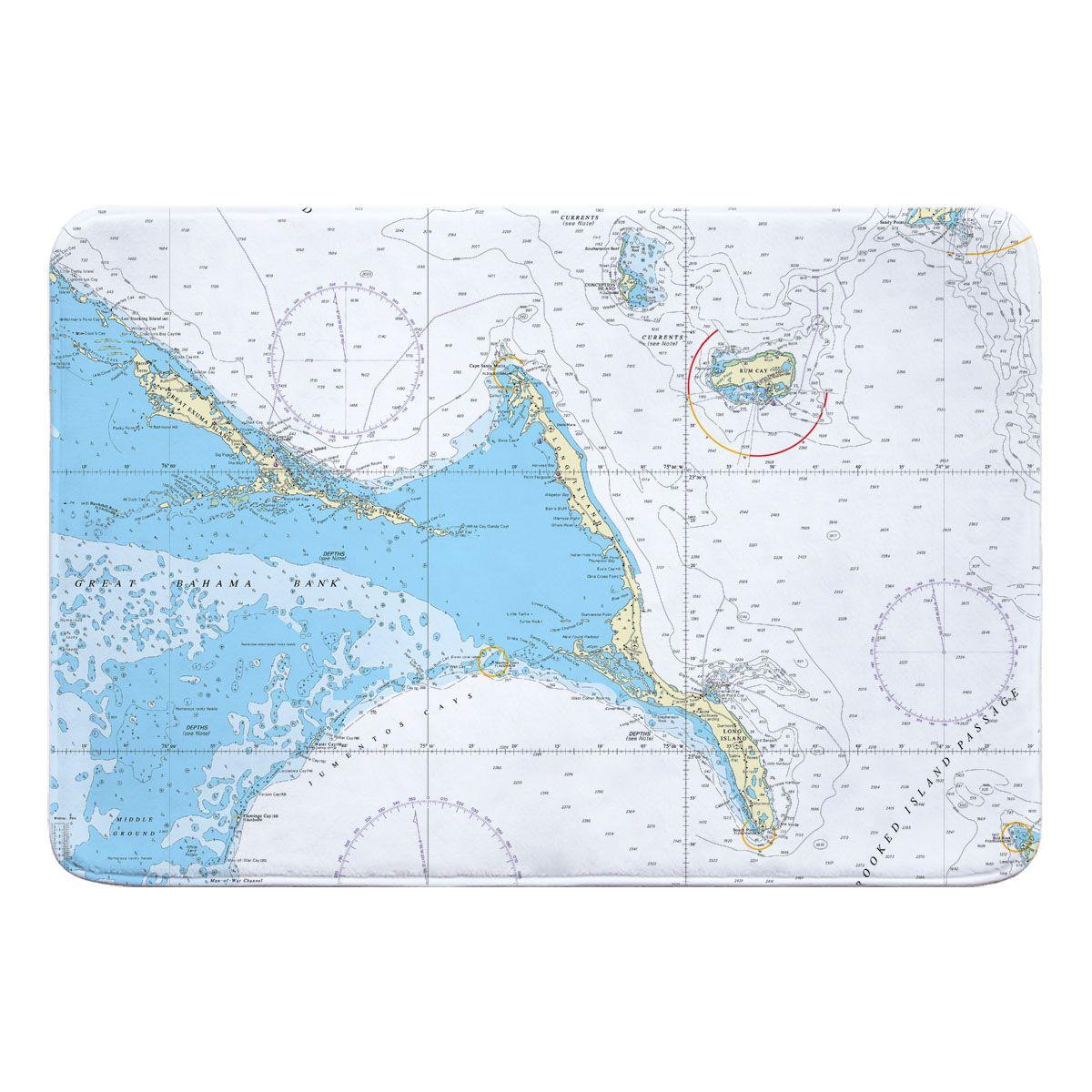 Exuma Islands Long Island Rum Cay Bahamas Nautical Chart Memory Foam Bath Mat Memory Foam Bath Mats Foam Bath Mats Nautical Chart