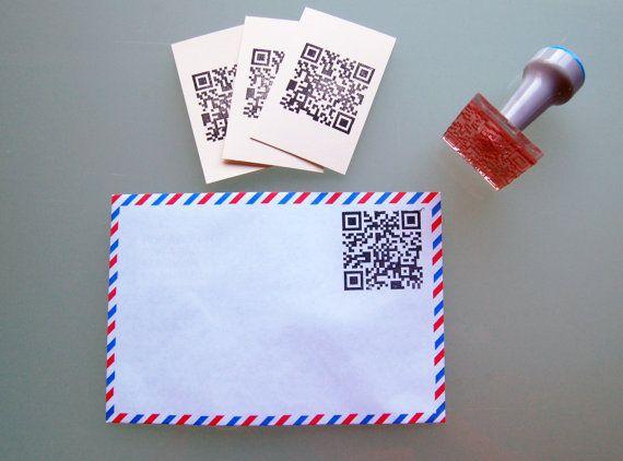 QR Code Stamp mounted on Plastic von QuilezStamps auf Etsy, €9,50