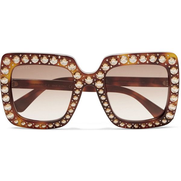 Crystal-embellished acetate sunglasses Gucci