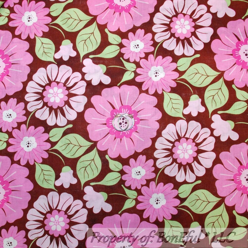 BonEful Fabric FQ Cotton Quilt Pink White Green Leaf Flower Large Print Dot Girl