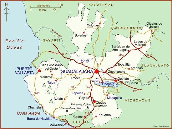 Map of Jalisco Mexico Guadalajara Chapala Puerto Vallarta