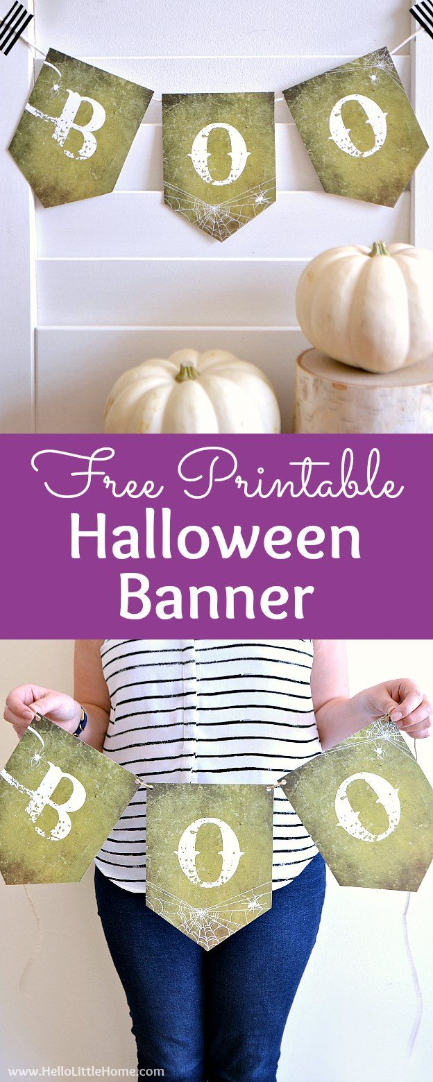 Free Printable DIY Halloween Banner! Simply print and hang this cute - cool homemade halloween decorations