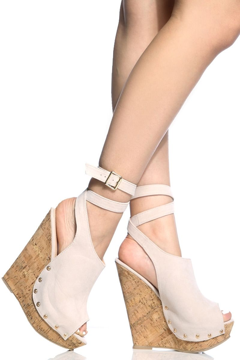 Nude Faux Suede Wrap Around Cork Wedges @ Cicihot Heel Shoes online store sales:Stiletto Heel Shoes,High Heel Pumps,Womens High Heel Shoes,Prom Shoes,Summer Shoes,Spring Shoes,Spool Heel,Womens Dress Shoes