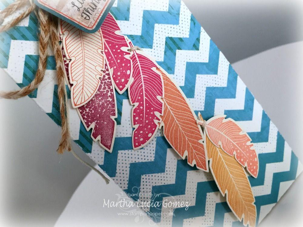 GIFT BAG O BOLSA DE REGALO - Gift Bag Punch Board, Four Feathers, Framelits, Quick Quotes Scrapbook Company, PowderPuff Chalk Ink, Petaloo