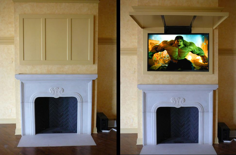 Panel Lift With Tvcoverups Hidetv Tvcoverups Tvcover Tv Traditional Family Rooms Rustic Family Room Ikea Storage Cabinets