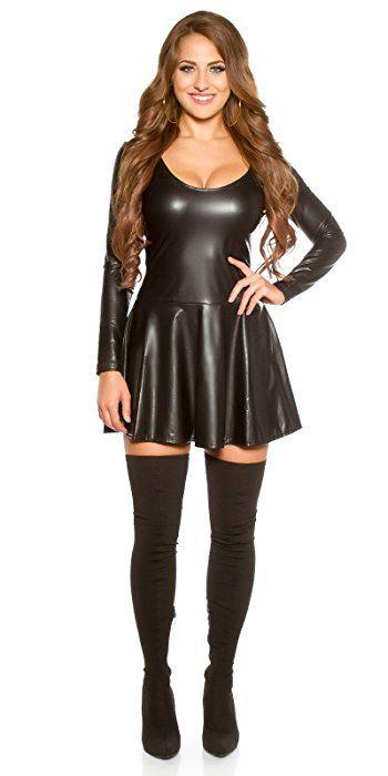 Koucla Damen Kleid Mini Wet-Look Leder-Optik Langarm Minikleid ...