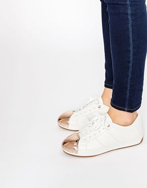 aldo rafa white metal toe cap sneakers  casual shoes