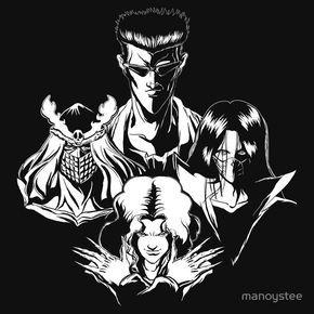 Yu Yu Hakusho Ghost Fighter Team Yusuke Urameshi Hiei Fan Art Manga Black T-shir