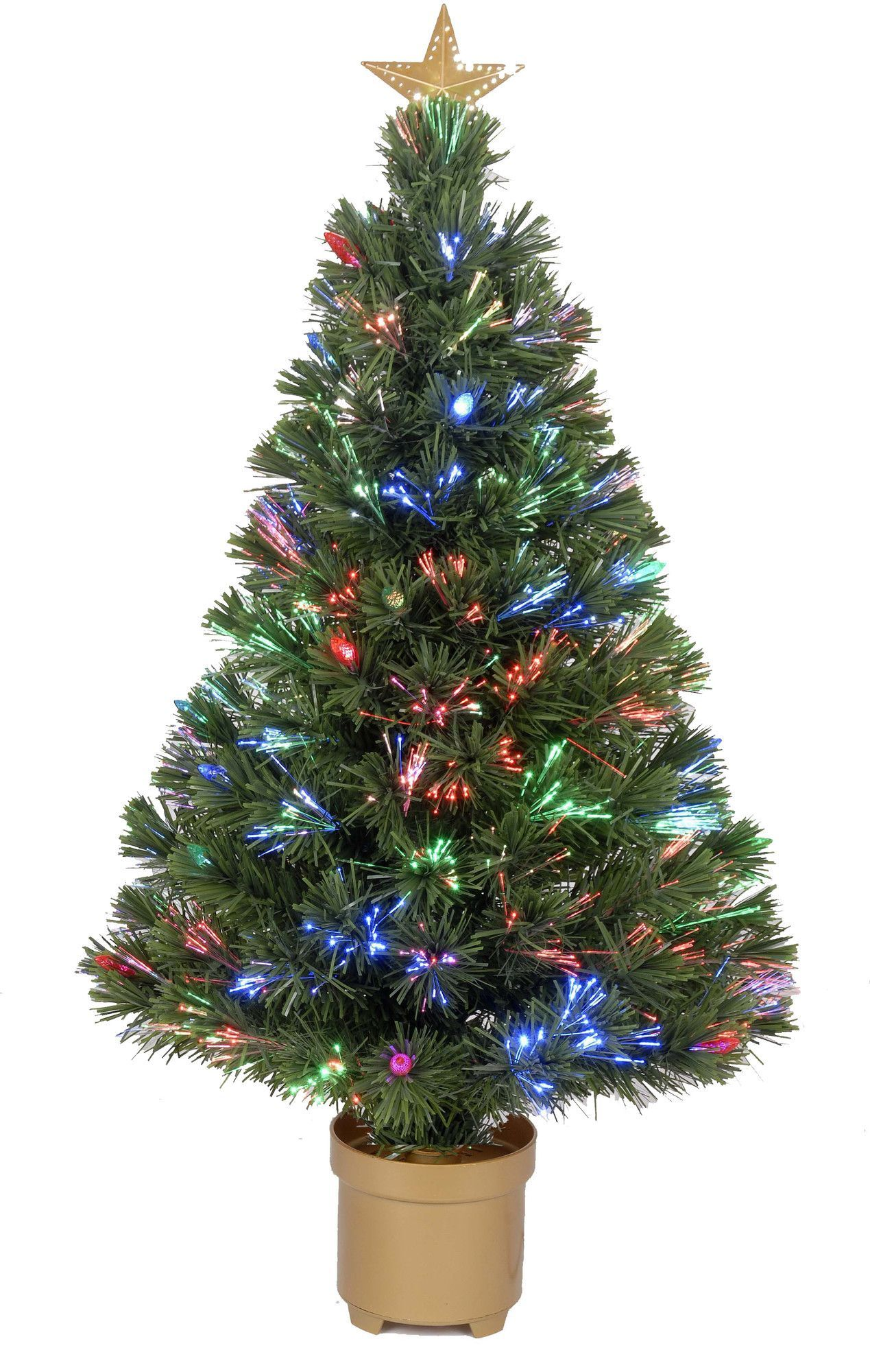 Fiber Optic 2 8 Green Artificial Christmas Tree With Led