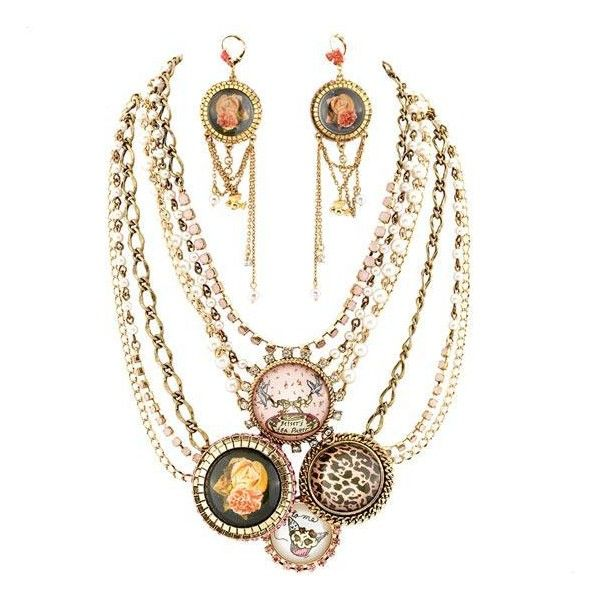 Betsey Johnson Tea Party Chunky Multi Strand Necklace & Chandelier Earrings found on Polyvore