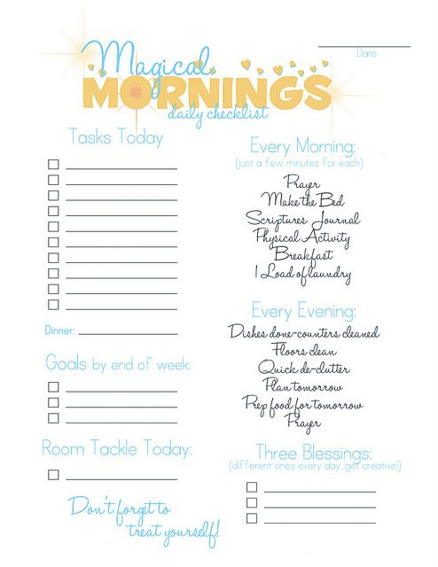 Magical Mornings Checklist - free printable to help you smooth out - daily checklist