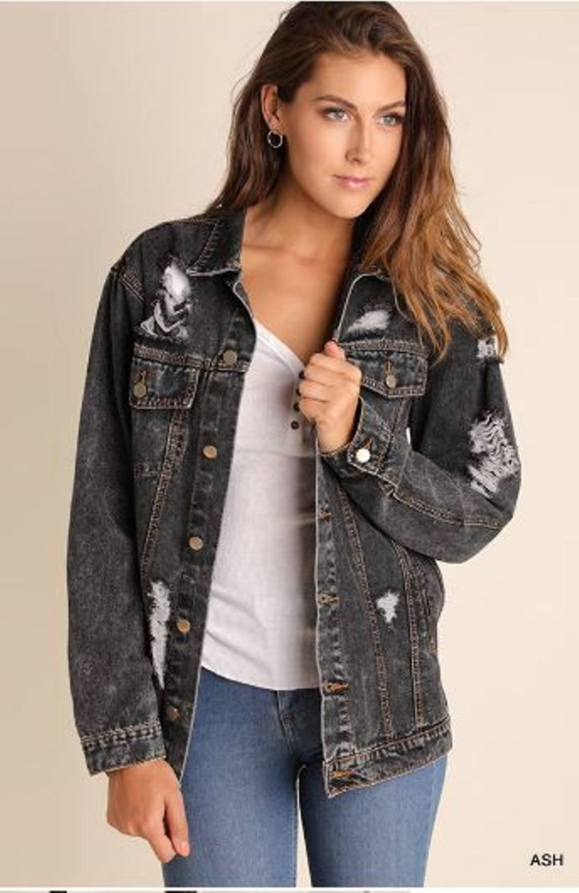 UMGEE Washed Button-Up Denim Jacket With Pockets USA Boutique