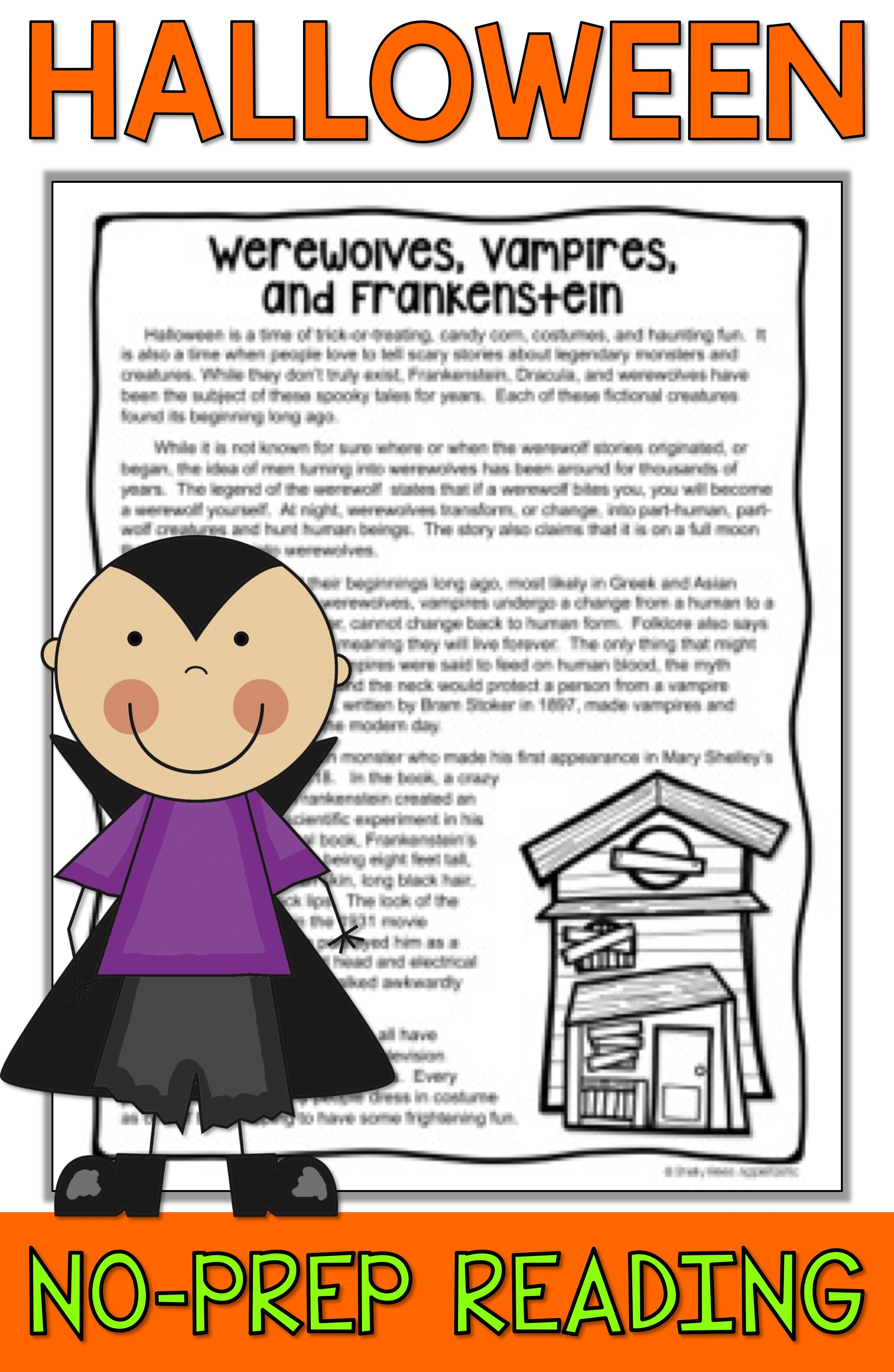small resolution of Halloween Reading activities for 3rd