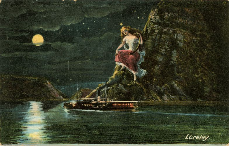 Loreley: The tale says she sits on top of a giant rock on a bend of the Rhine. She is a water-maiden or mermaid that seduces the sailors on the Rhine who listen to her lulling but yet lamenting song. So the sailors are distracted from their work and the ships burst at the bottom of her site.