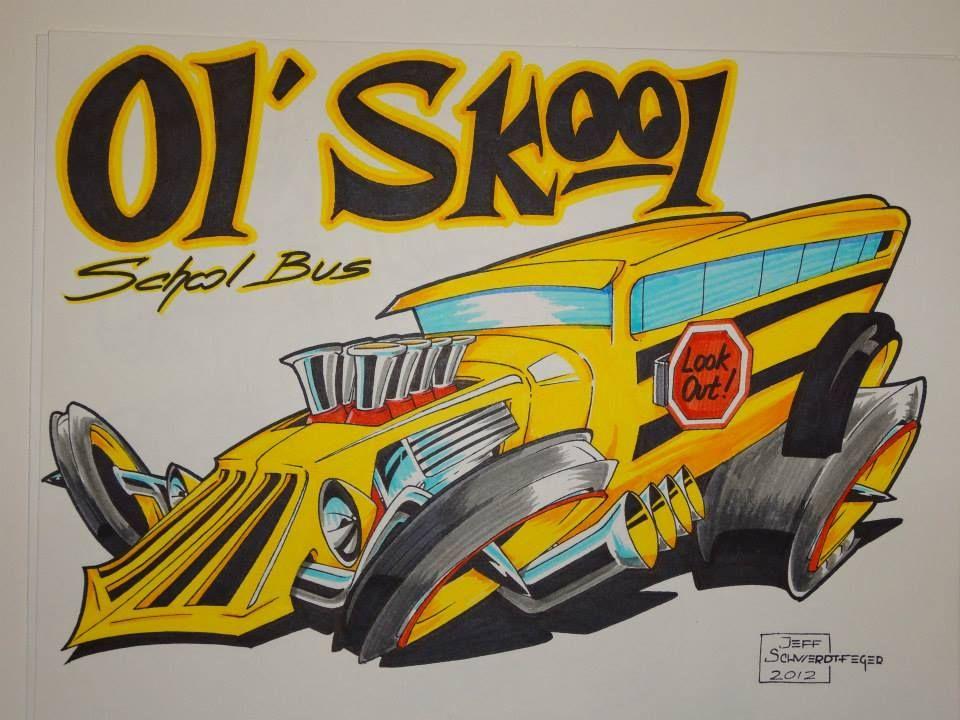 Hot Rod School Bus With Images Cartoon Artwork Car Cartoon
