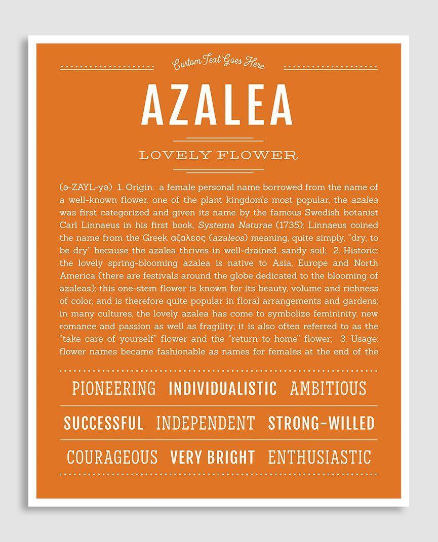 Azalea Name Art Print Classic Names Names With Meaning Names