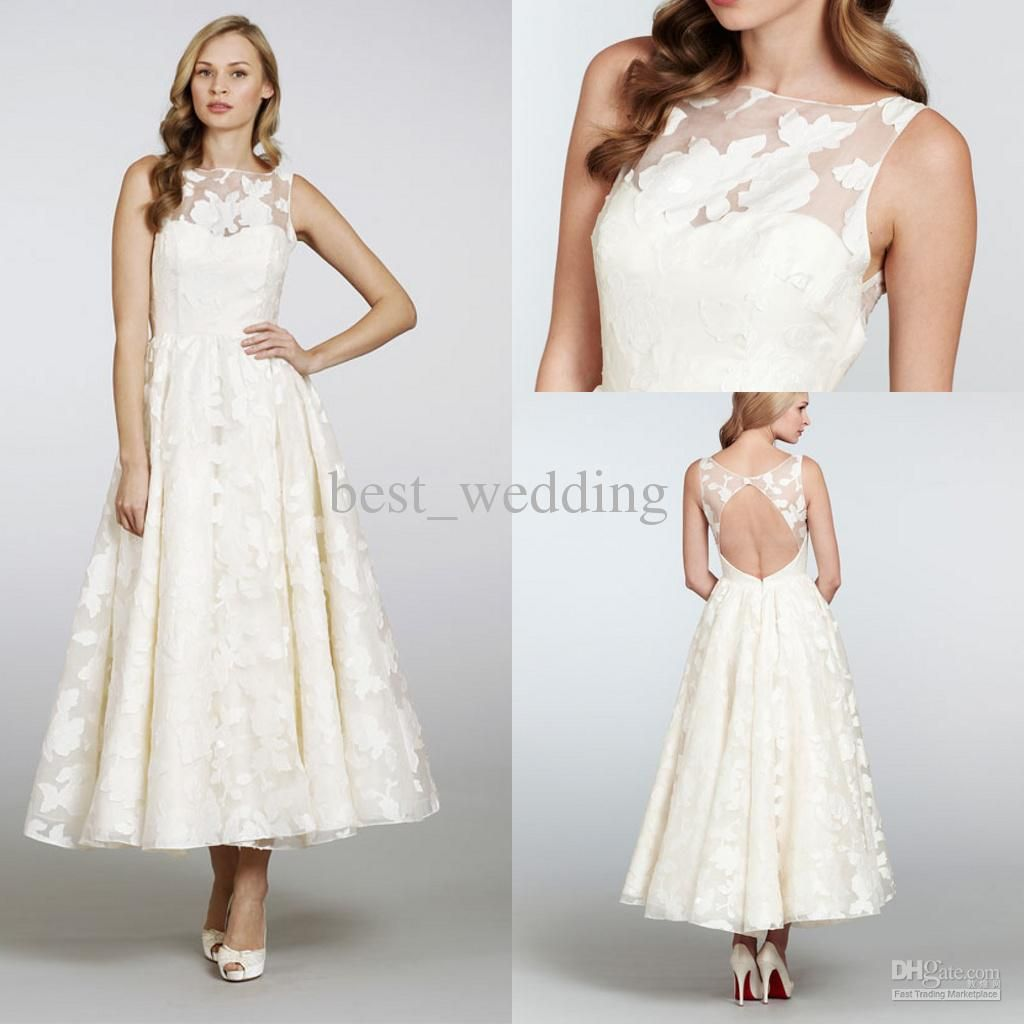 Wholesale vintage bateau appliques a line tea length for Cheap wedding dresses tea length