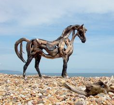 Beautiful Driftwood   Beautiful Driftwood #HorseSculptures These sculptures are made with driftwood and skill by Heather Jansch. The larger sculptures use a wire frame coated with fiberglass as support.  . Visit bestwoodworking.click