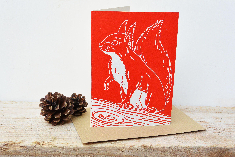 Original Red Squirrel Linocut Card A6 Lino Wildlife Blank Greeting Print Animal Gift