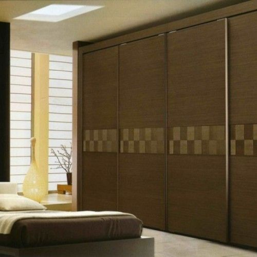 Unique Classy Design Bedroom Sliding Closet Door With Solid Teak Wooden  Material For The Door Cover