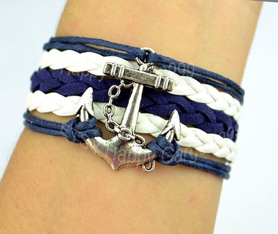 Lovely simple navigation bracelet anchor bracelet navy blue wax cord and white leather braid bracelet christmas gift-J865