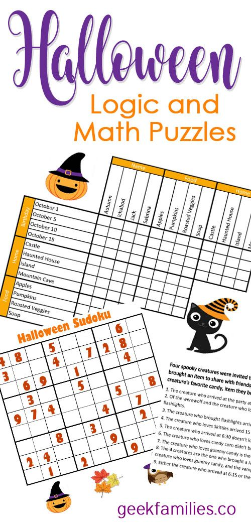 Halloween Math and Logic Puzzles for Kids: free download ...