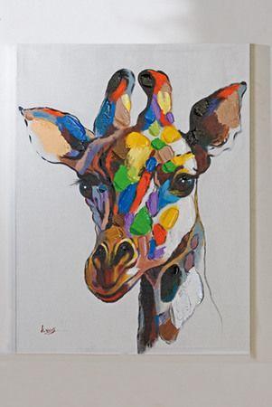 kunst f r das wohnzimmer oder schlafzimmer casablanca lbild giraffe bunt giraffen. Black Bedroom Furniture Sets. Home Design Ideas