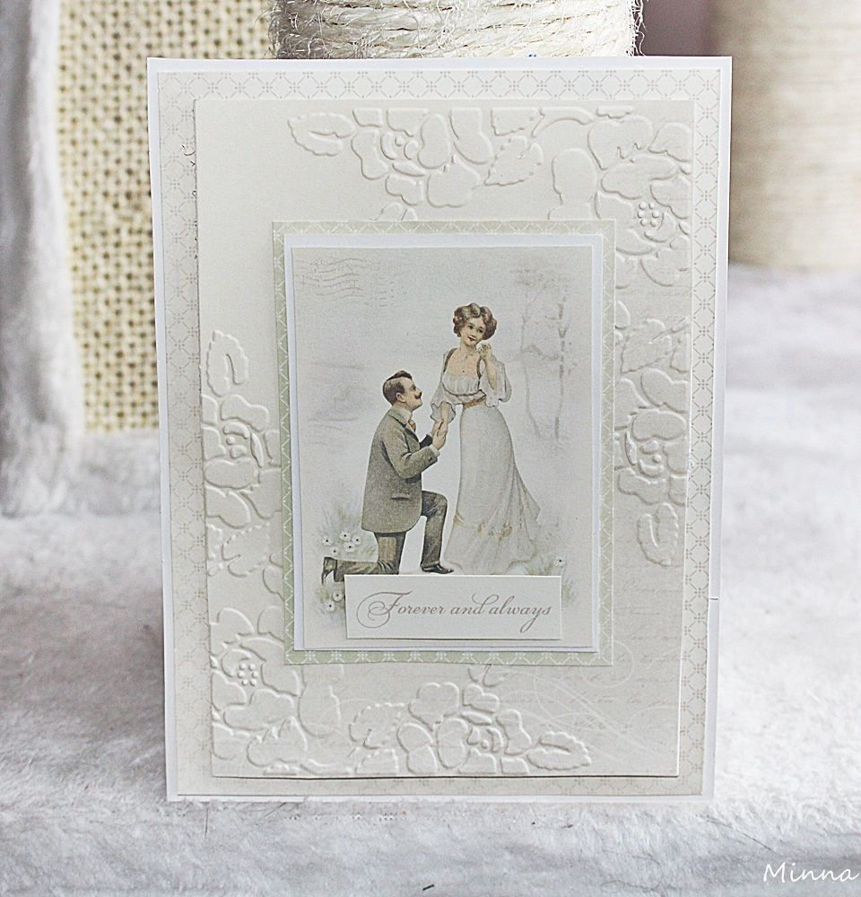 Yksi hääkortti Pion Designin Vintage Wedding papereista:) Yhteen paperiin kohokuvioin ruusuja SIZZIXIN kohokuviointikansiolla  Sizzix Textur...