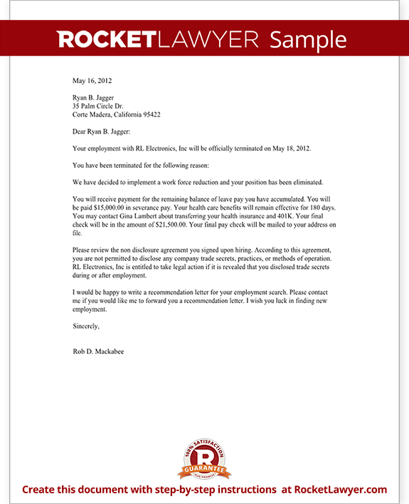 Termination Letter For Employee Template With Sample More