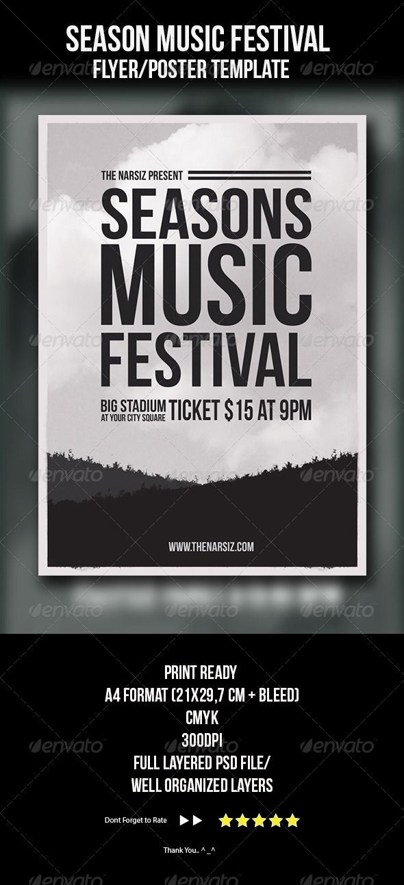 Season Music Festival Flyer Template | Seasons, Stadia And Festivals