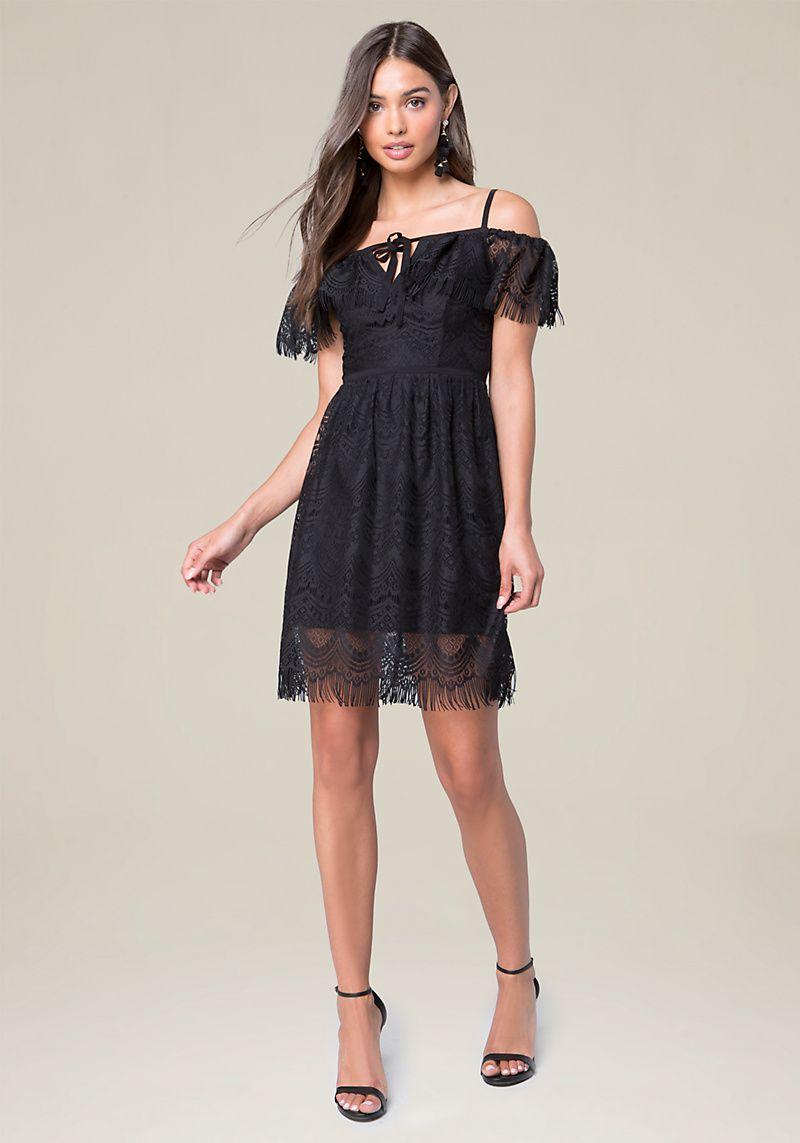 Bebe Lace Off Shoulder Dress   Shoulder dress, Shoulder and Fringe trim
