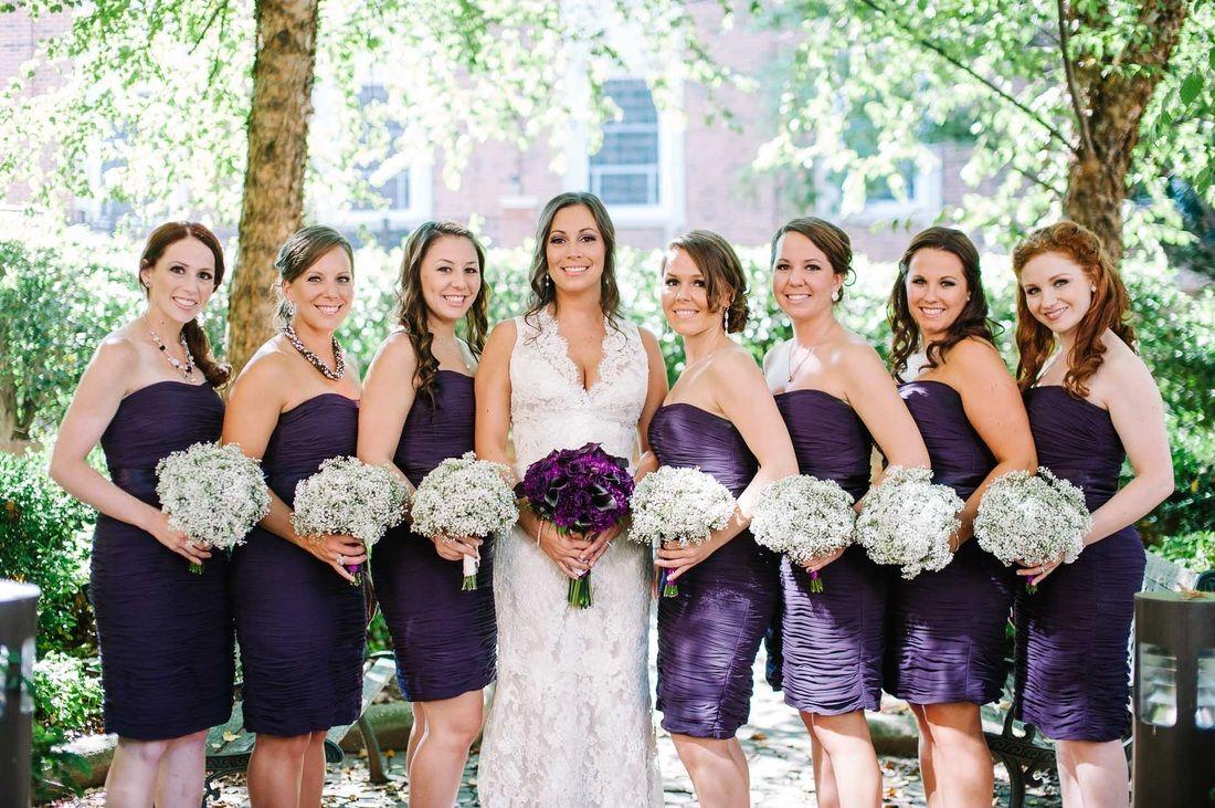 Deep purple bridesmaids dresses with babys breath bouquets deep purple bridesmaids dresses with babys breath bouquets ombrellifo Gallery