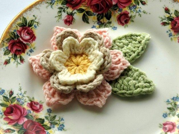 Crochet Flower in Pink, Cream and Yellow | Crochet | Pinterest ...