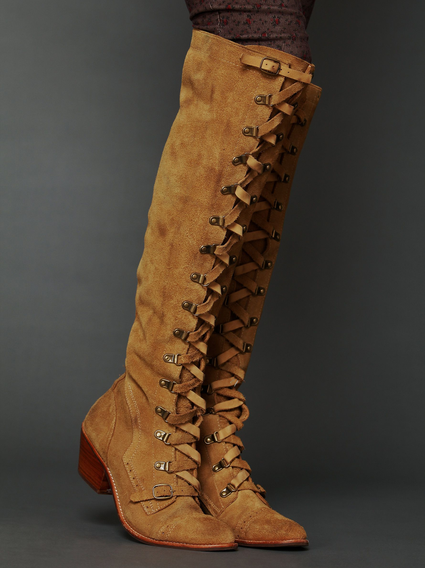 aba4e85a43b Jeffrey Campbell Johnny Tall Boot at Free People Clothing Boutique -  Distressed suede lace-up tall boot with low heel. Zips up the inner side.  Rubber sole.