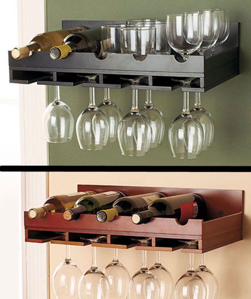 Wooden Wine Rack In Stock Wall Mount Hanging Glass Holder Holds 5 Bottles