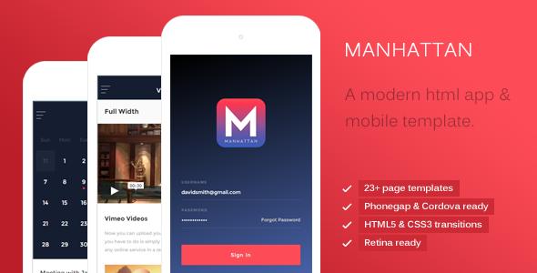 Download Free Manhattan - Modern HTML Mobile & App Template