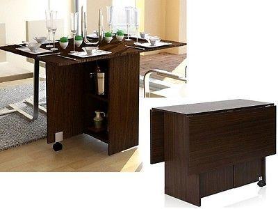 Extendable Dining Prep Table Desk Storage Cabinet Drop Leaf