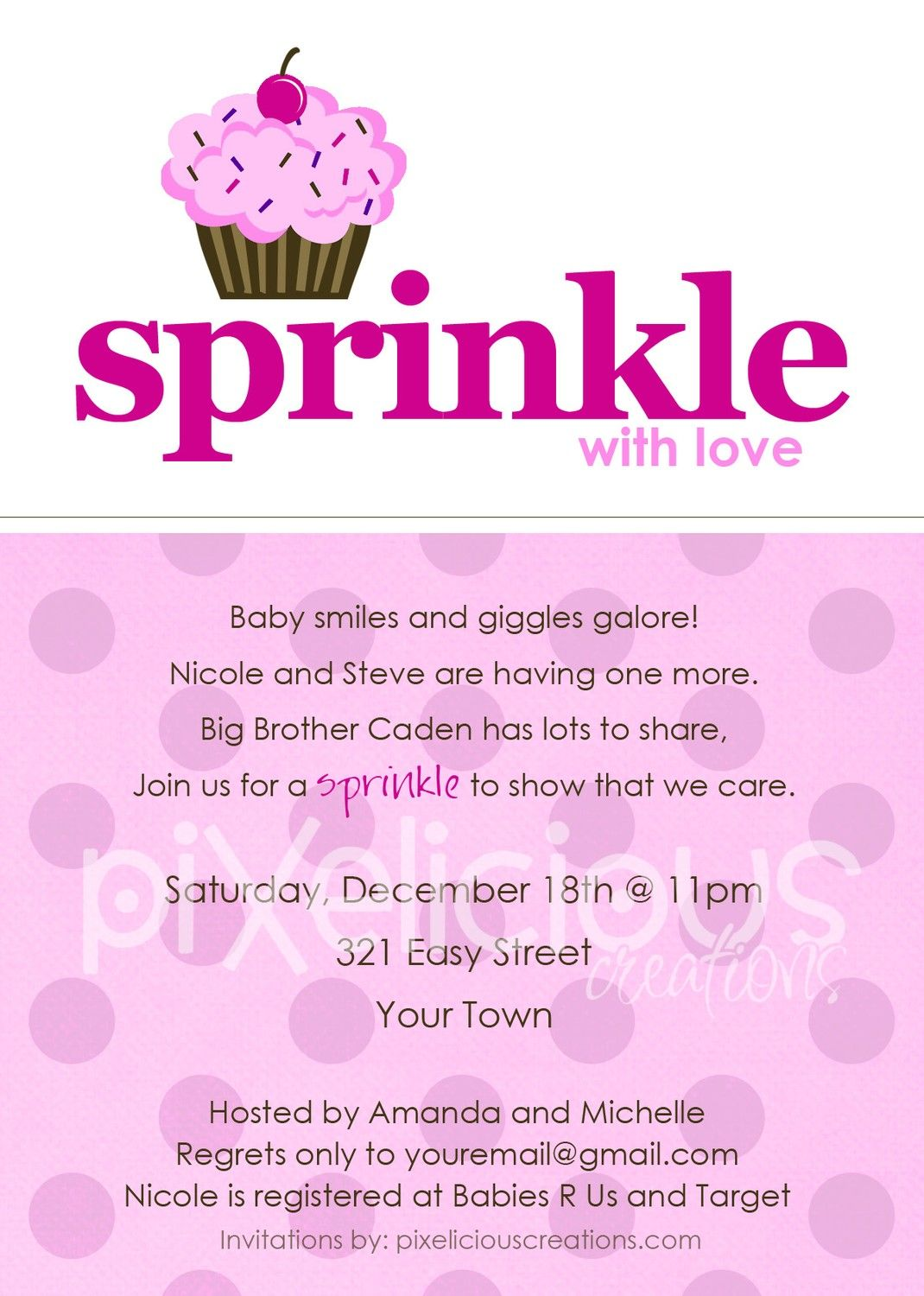 Girl Baby Shower Invitations | SPRINKLE Custom Baby Shower ...