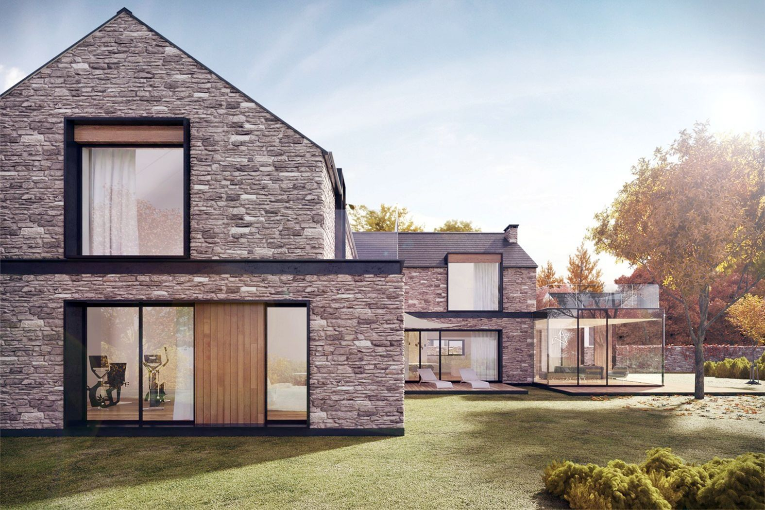 15 Awesome Modern Brick Stone House Architecture Ideas In 2020 Small House Design Exterior Stone House Plans Small House Exteriors