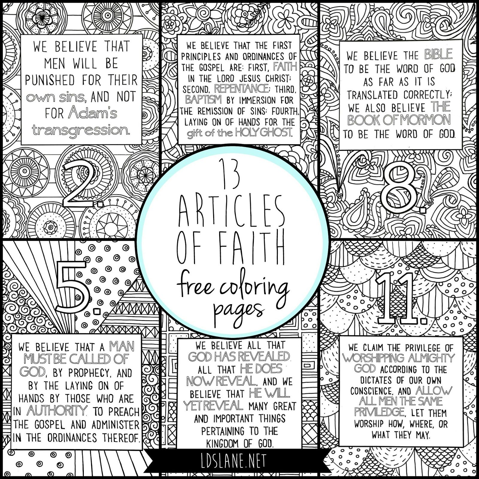 13 articles of faith coloring pages by lds lane gospel