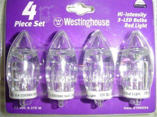 4 Westinghouse Hi-Intensity 3- LED Bulbs Red Light 12 VDC