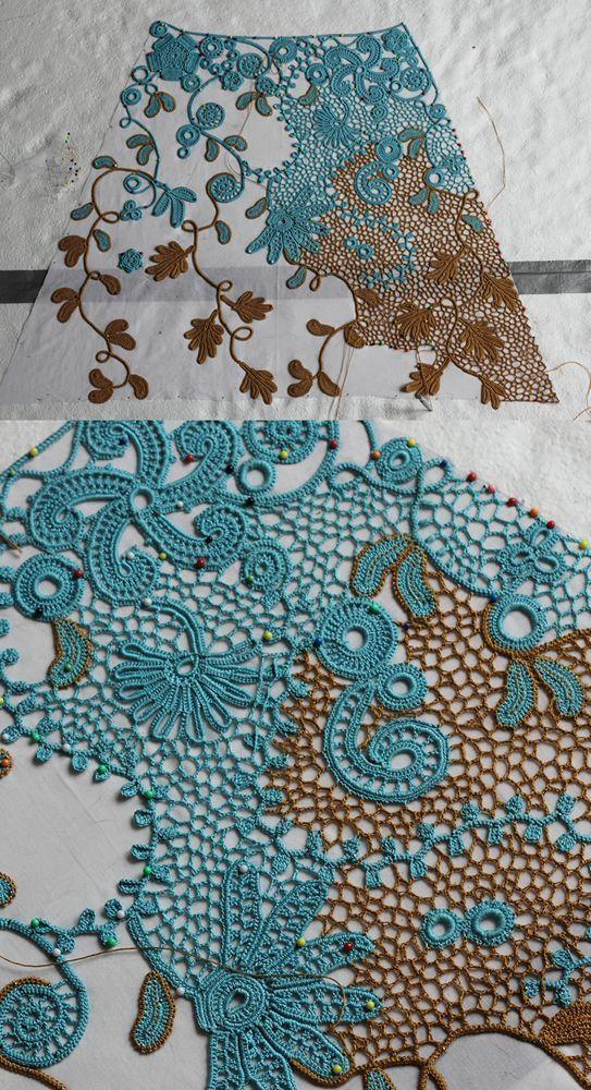 Irish crochet - sewing together II by BramboraCzech.deviantart.com on @deviantART: #irishcrochetmotifs