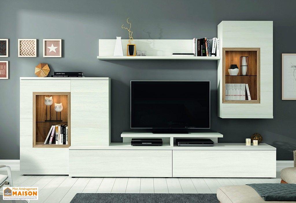 Ensemble Bibliotheque Pour Salon Tv Design En Bois Blanc Et Finition Chene 270 X 195 Cm Meuble Tv Design Ensemble Meuble Tv Meuble Tv